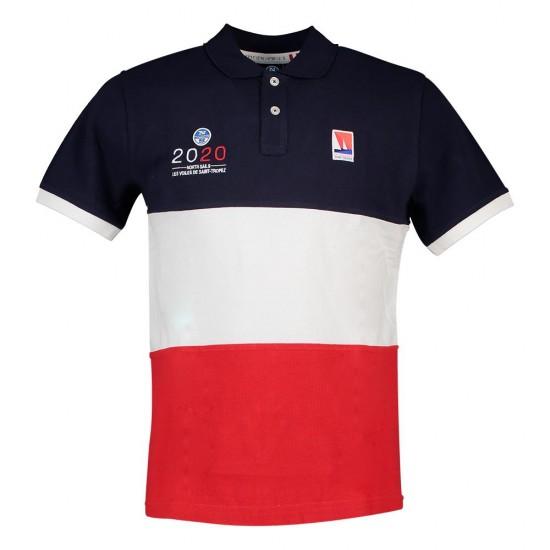Polos Les Voiles De Saint Tropez Contrast (White / Red / Marine Blue - XXXL)