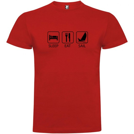 Camisetas Sleep Eat And Sail (Red - XL)