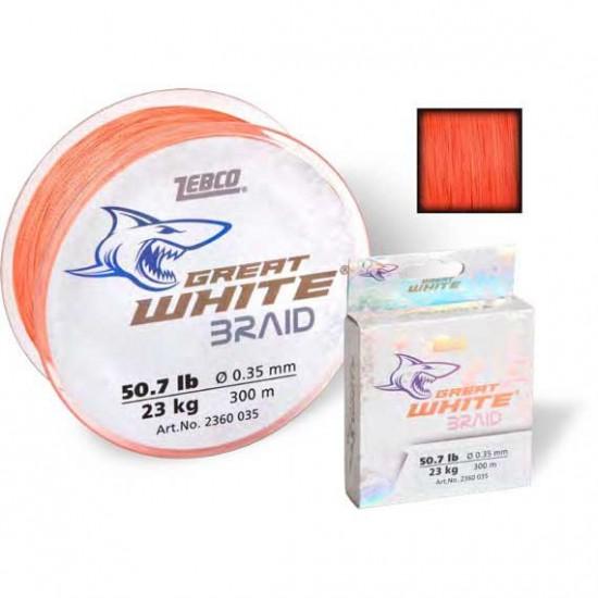 Líneas de pesca Great White Braid 300 M (Orange - 0.270 mm)