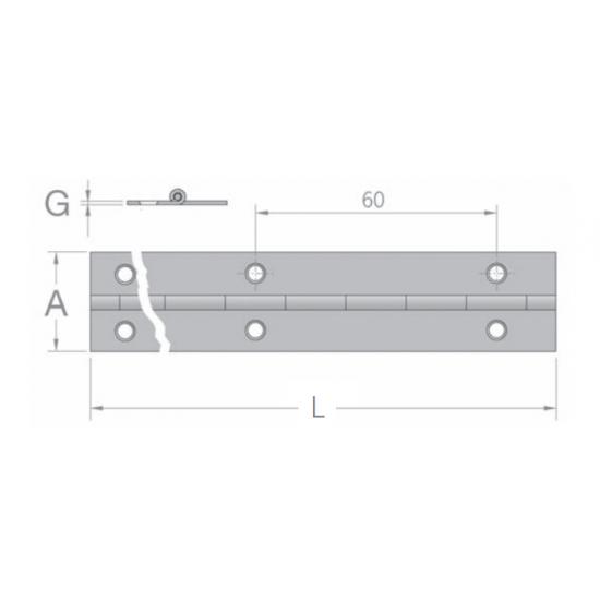 BISAGRA DE PIANO 50 X 2000MM - GRUESO 1,5MM - INOX316