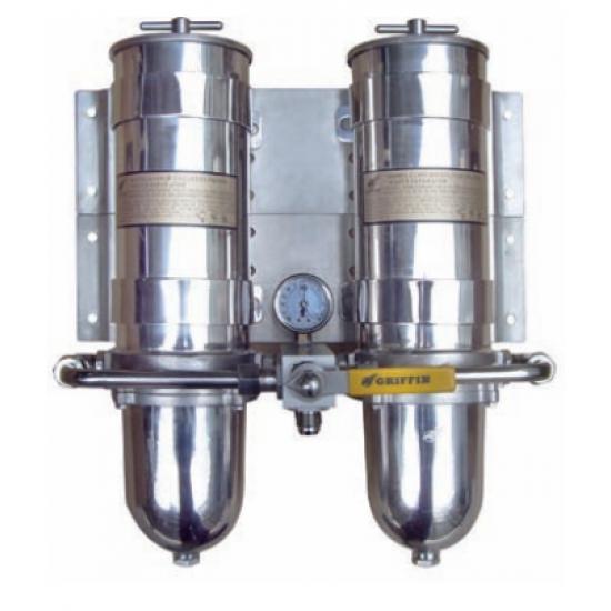 FILTRO DE GASOIL GRIFFIN DOBLE INOX CON SEPARADOR DE AGUA 910lph