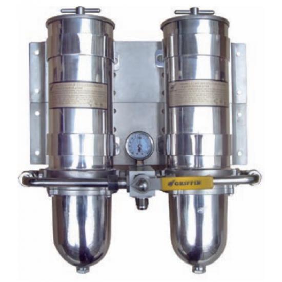 FILTRO GRIFFIN INOX DOBLE DE GASOIL SEPARADOR DE AGUA 454LPH