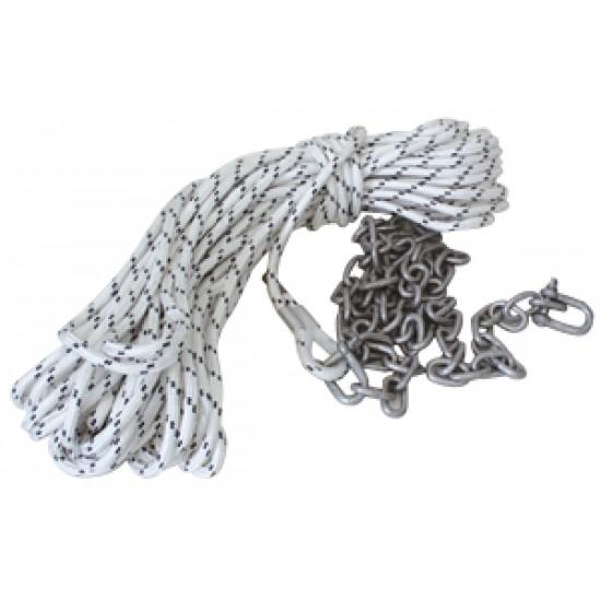 Cabo de fondeo 50mt -10mm con 1.5mt de cadena galv 6mm