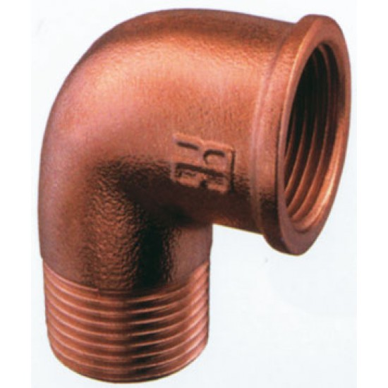 Codo Fontaneria Bronce 90° Macho-Hembra en 3/4 de pulgada
