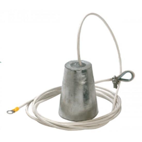 Anodo de sacrificio Aluminio 105mm con 6mt de cable