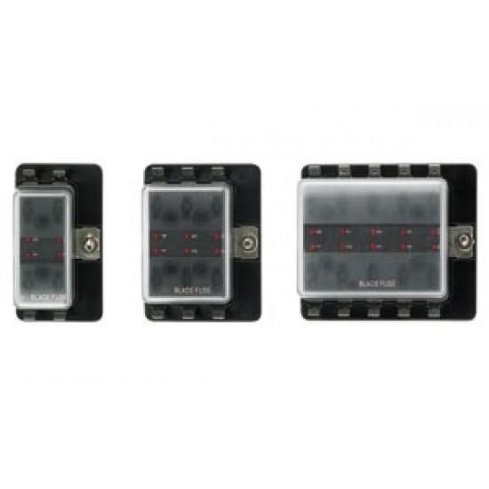 Caja 6 portafusibles con alarma led 85x70x36mm para fusibles lamellar