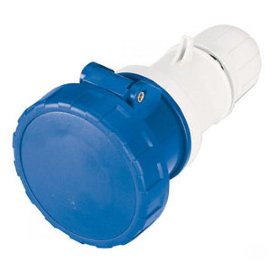 Enchufe Hembra PVC 32 amp con tapa conexion a pantalan