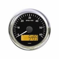 Cuenta revoluciones ViewLine VDO Negro e inox con Cuenta Horas 85 mm-4000 RPM