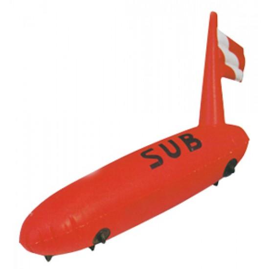 Boya de buceo hinchable tipo torpedo 88x28cm