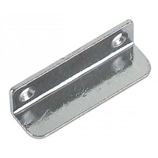 Pletina cromada curvada para instalacion cerraduras 12x40 mm